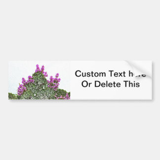 purple flowers green bush floral sketch design bumper stickers