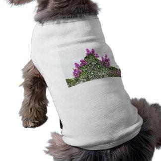 purple flowers green bush floral sketch design dog t-shirt