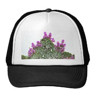 purple flowers green bush floral sketch design trucker hats