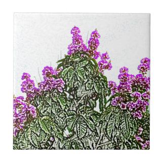 purple flowers green bush floral sketch design tile