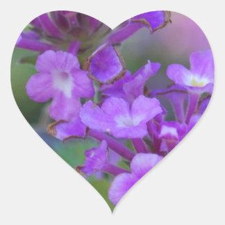 Purple Flowers Heart Sticker