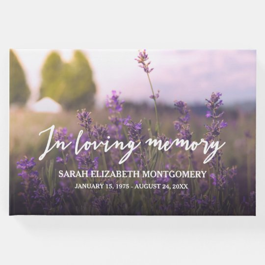 Purple Flowers In Loving Memory Guest Book
