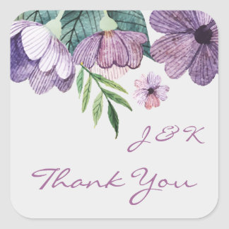 Purple flowers in watercolor Wedding Thank You Square Sticker