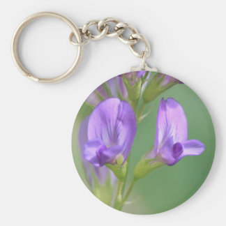 Purple Flowers Basic Round Button Key Ring