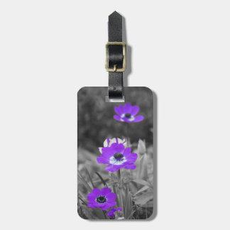 Purple flowers - luggage tags