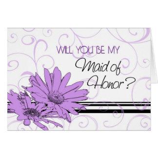 Purple Flowers Maid of Honor Invitation Card