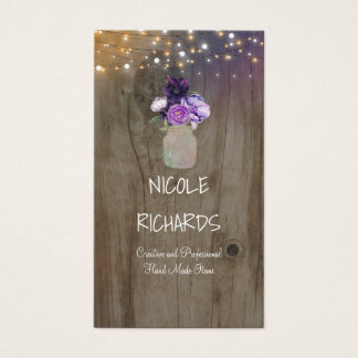Purple Flowers Mason Jar Rustic Wood and Lights Business Card