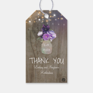 Purple Flowers Mason Jar Rustic Wood Gift Tags