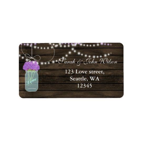 Purple Flowers Mason Jars Barn Wood Wedding Address Label