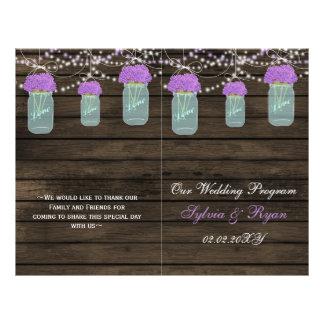 Purple Flowers Mason Jars Barn Wood Wedding Flyer