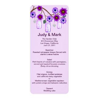 Purple Flowers Mason Jars Menu Card 10 Cm X 24 Cm Invitation Card