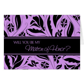 Purple Flowers Matron of Honor Invitation Card