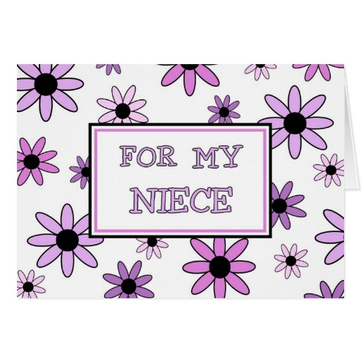 Purple Flowers Niece Flower Girl Invitation Card