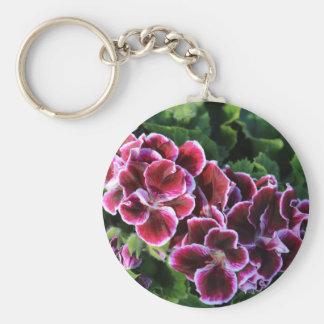 Purple Flowers on a field of greens Keychain