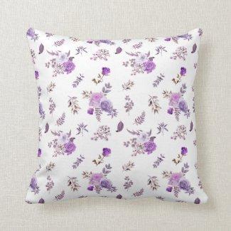 Purple flowers  on  cushion