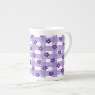 Purple Flowers on Gingham Bone China Mug Tea Cup