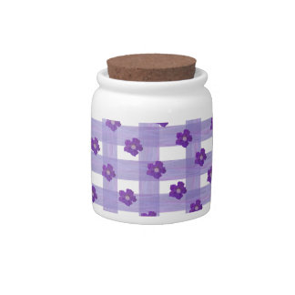 Purple Flowers on Gingham Candy Jar