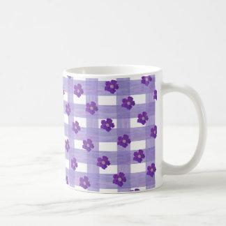 Purple Flowers on Gingham Classic Coffee Mug