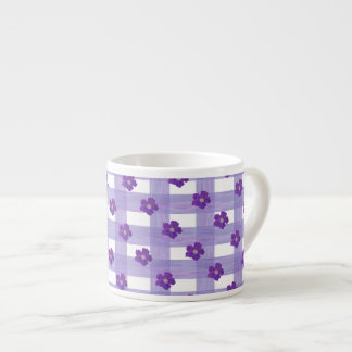 Purple flowers on Gingham Espresso Mug 6 Oz Ceramic Espresso Cup