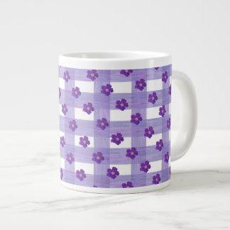 Purple Flowers on Gingham Jumbo Coffee Mug 20 Oz Large Ceramic Coffee Mug