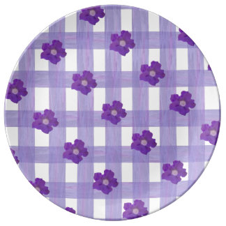 Purple Flowers on Gingham Large Porcelain Plate