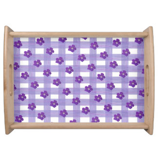 Purple Flowers on Gingham Large Serving Tray