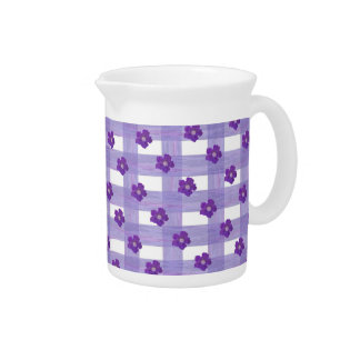 Purple Flowers on Gingham Pitcher