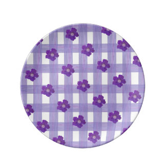 Purple Flowers on Gingham Small Porcelain Plate