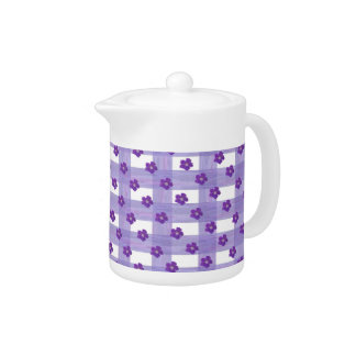 Purple Flowers on Gingham Small Teapot
