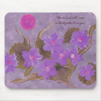 Purple flowers on lavender with Vietnamese proverb Mouse Mat
