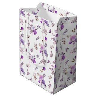 Purple flowers on medium gift bag