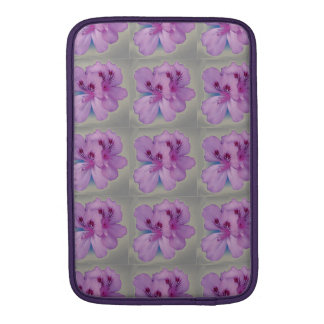 Purple Flowers on Silver Gray MacBook Sleeve