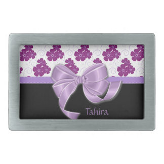 Purple Flowers Pattern Lavender Ribbon Belt Buckle