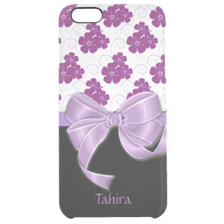Purple Flowers Pattern Lavender Ribbon Clear iPhone 6 Plus Case