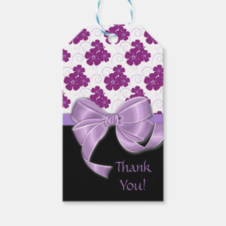 Purple Flowers Pattern Lavender Ribbon Gift Tags