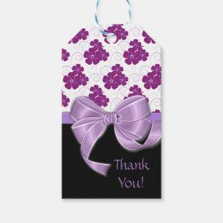 Purple Flowers Pattern Lavender Ribbon Gift Tags