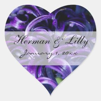 Purple Flowers Personal Wedding Heart Sticker