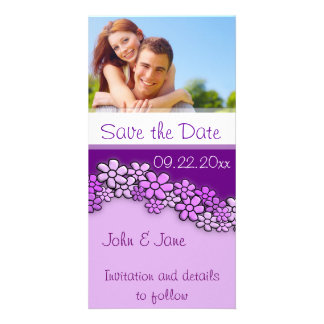 """Purple Flowers/photo  """"Save the Date"""" Photo Card Template"""