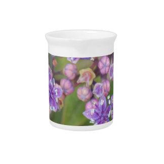 Purple flowers pitcher