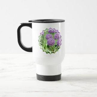 Purple Flowers Plastic Travel Mug