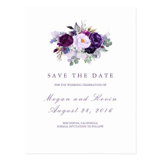 Purple Flowers Romantic Save the Date Postcard