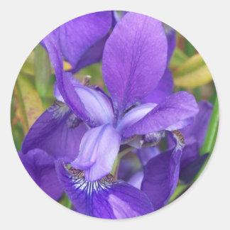 Purple Flowers Round Stickers