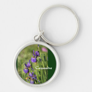 Purple Flowers Silver-Colored Round Key Ring