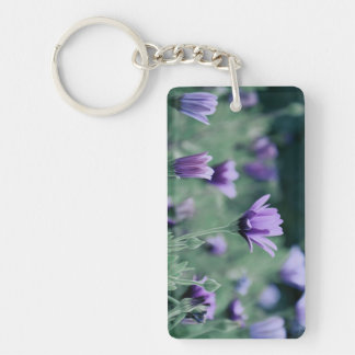 Purple Flowers Single-Sided Rectangular Acrylic Key Ring