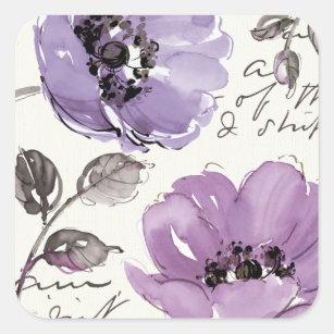 Purple Flowers Square Sticker