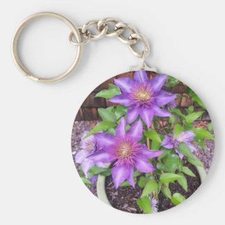 Purple Flowers Star Design Keychain