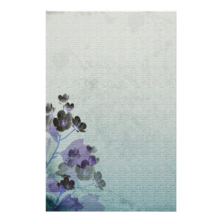 Purple Flowers Stationery Paper