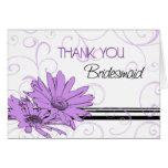 Purple Flowers Thank You Bridesmaid Card