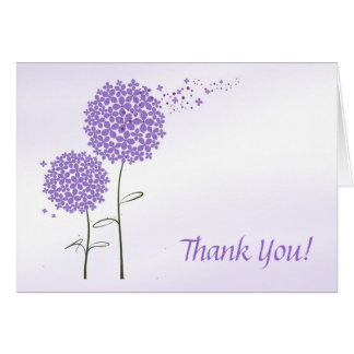 Purple Flowers Thank You Greeting Card
