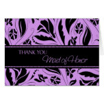 Purple Flowers Thank You Maid of Honour Card